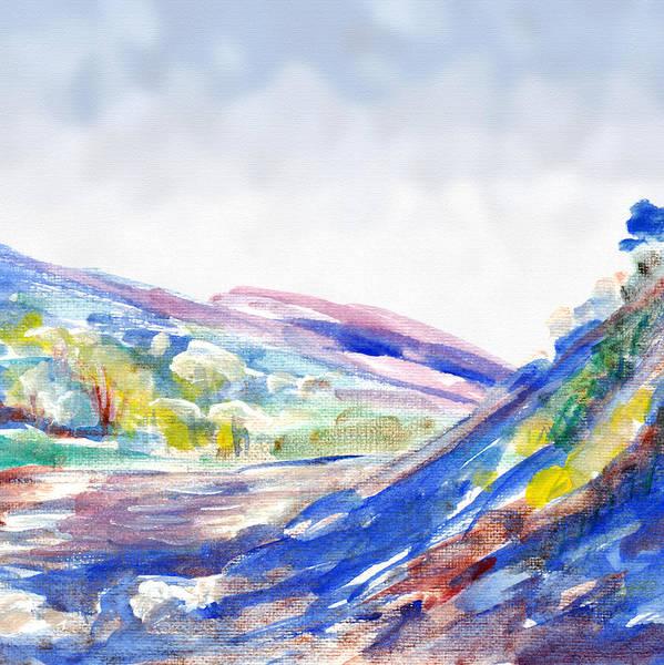 Wallpaper Mixed Media - Abstract Mountain Landscape  by Elena Sysoeva