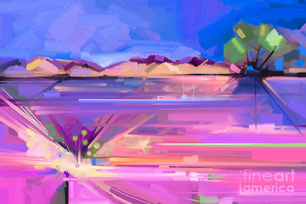 Pastel Colors Digital Art - Abstract Oil Painting  Landscape by Pluie r