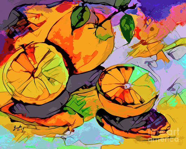 Mixed Media - Abstract Oranges Modern Food Art by Ginette Callaway