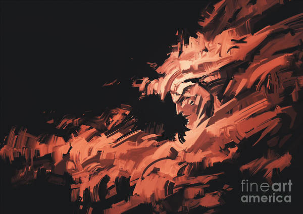 Wall Art - Digital Art - Abstract Painting Of Man Face With by Tithi Luadthong