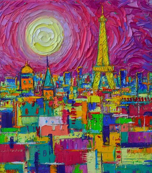 Painting - Abstract Paris Colorful Night By Full Moon Textural Impressionist Knife Painting Ana Maria Edulescu by Ana Maria Edulescu