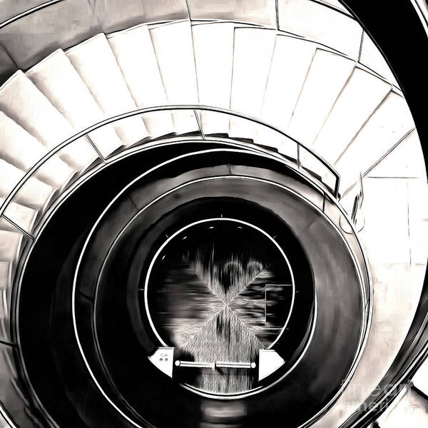 Wall Art - Photograph - Abstract Paris Louvre Staircase by Edward Fielding
