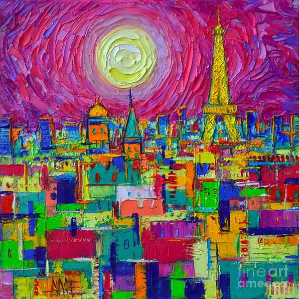 Painting - Abstract Paris Vibrant Night Full Moon View From Notre Dame Towers Cityscape By Ana Maria Edulescu by Ana Maria Edulescu