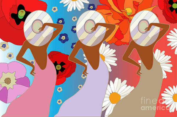 Wall Art - Digital Art - Abstract Pattern Of Women In Dresses by Viktoriya Pa