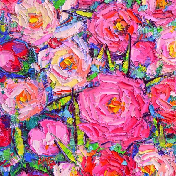 Painting - Abstract Pink Peonies 7 Textural Impressionist Flowers Impasto Knife Oil Painting Ana Maria Edulescu by Ana Maria Edulescu