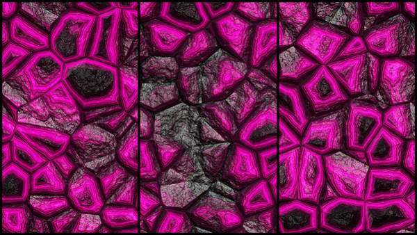 Digital Art - Abstract Pink Stone Triptych by Don Northup