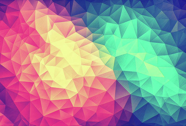 Wall Art - Digital Art - Abstract Polygon Multi Color Cubism Low Poly Triangle Design by Philipp Rietz