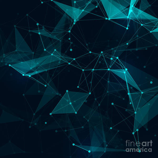 Molecular Wall Art - Digital Art - Abstract Polygonal Space Low Poly Dark by Shanvood