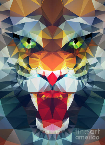 Blank Wall Art - Digital Art - Abstract Polygonal Tiger. Geometric by Merfin