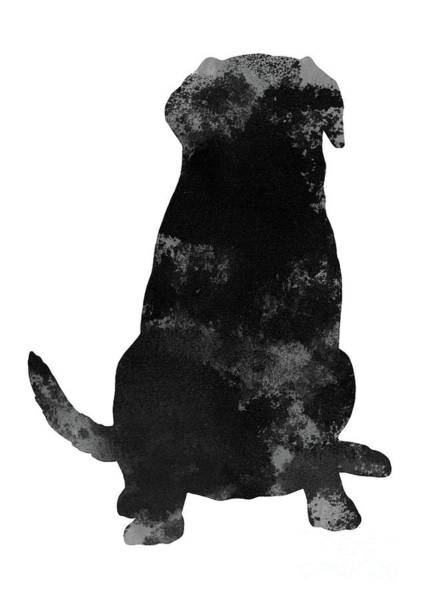 Wall Art - Painting - Abstract Print Animal Motive Art Dog Poster Black Gray Labrador Silhouette by Joanna Szmerdt