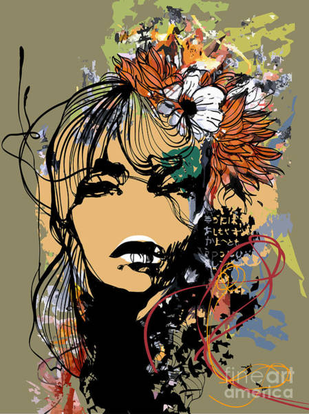 Wall Art - Digital Art - Abstract Print With Female Face by Alisa Franz