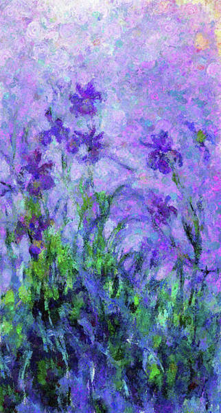 Purple Iris Mixed Media - Abstract Realism Field Of Iris In Spring by Georgiana Romanovna
