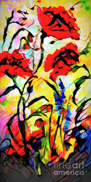 Mixed Media - Abstract Red Poppies Provence by Ginette Callaway