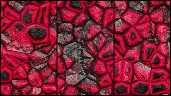 Digital Art - Abstract Red Stone Triptych by Don Northup
