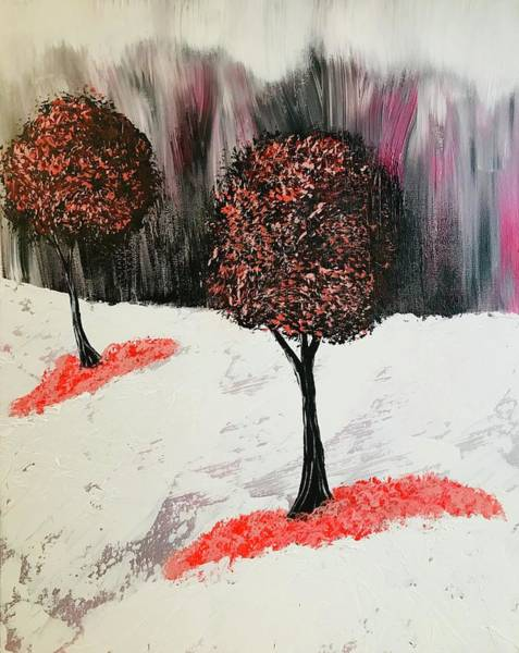 Wall Art - Painting - Abstract Red Trees by Willy Proctor