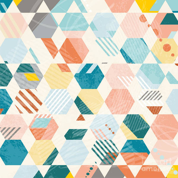 Wall Art - Digital Art - Abstract Retro Geometric Hexagonal by Lfor