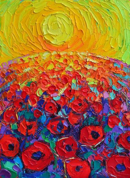 Painting - Abstract Round Poppies Field At Sunrise Textural Impressionist Impasto Palette Knife Oil Painting by Ana Maria Edulescu