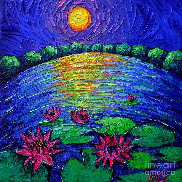 Wall Art - Painting - Abstract Round Waterlilies Pond By Moonlight by Ana Maria Edulescu