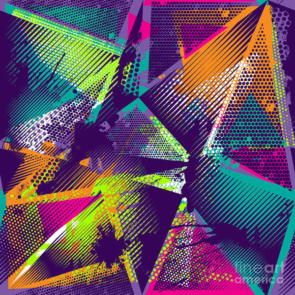 Neon Lights Digital Art - Abstract Seamless Geometric Pattern by Little Princess