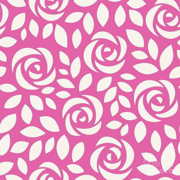 Wall Art - Digital Art - Abstract Seamless Pattern With Roses by Gizele