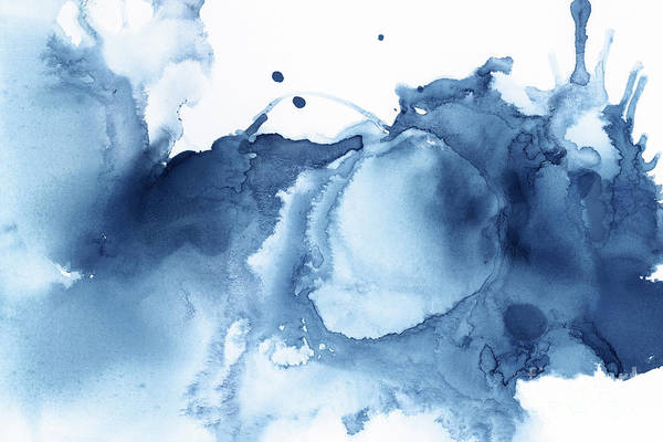 Blue Wave Painting - Abstract Shades Of Blue  by PrintsProject