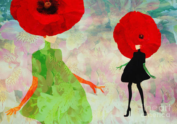 Two People Wall Art - Digital Art - Abstract Sketch Of A Woman In  Green by Viktoriya Pa