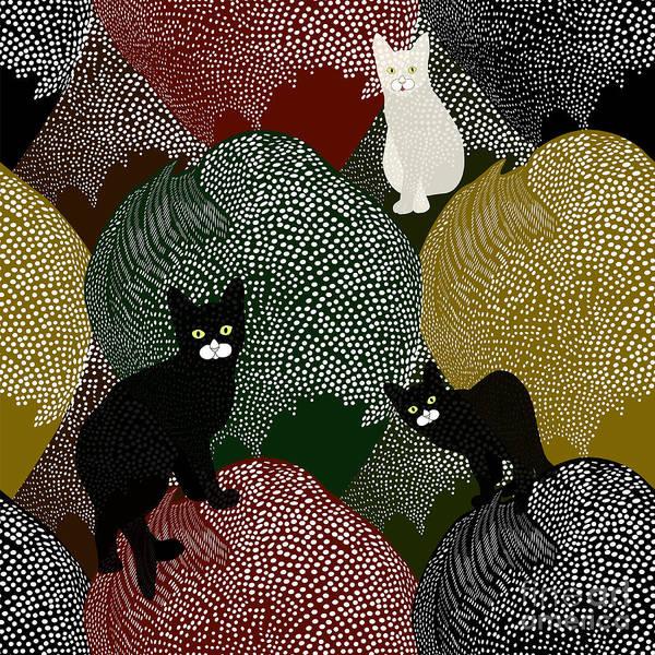 Wall Art - Digital Art - Abstract Sketch Of Fun Little Black And by Viktoriya Pa
