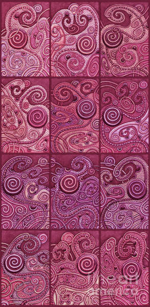 Painting - Abstract Spiral Set 2 Berry Shades by Amy E Fraser