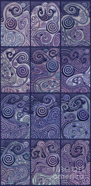 Painting - Abstract Spiral Set 3 Cool Blues by Amy E Fraser