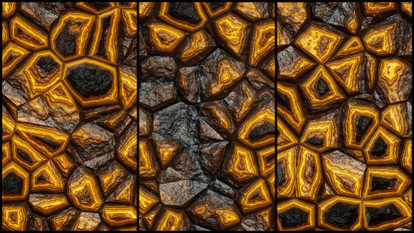 Digital Art - Abstract Stone Triptych by Don Northup
