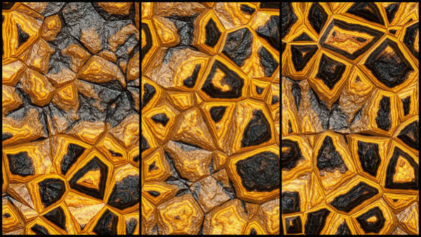Digital Art - Abstract Stone Wall Triptych by Don Northup