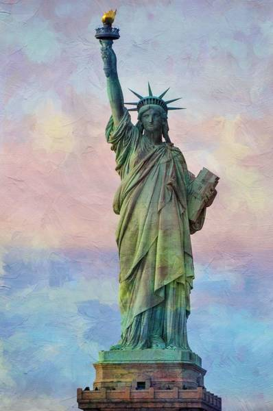 Wall Art - Painting - Abstract Sttue Of Liberty Painting V2 by Celestial Images