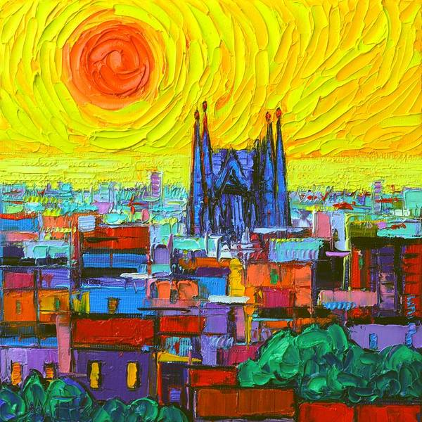 Painting - Abstract Sunrise Over Sagrada Familia From Park Guell In Barcelona by Ana Maria Edulescu