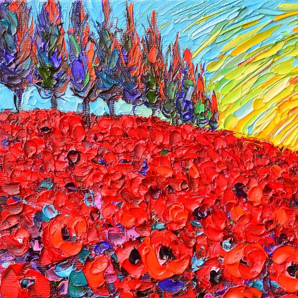 Painting - Abstract Sunset Red Poppies And Cypress Trees Textural Impasto Knife Oil Painting Ana Maria Edulescu by Ana Maria Edulescu