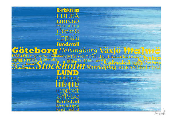 Digital Art - Abstract Swedish Flag  by Sannel Larson