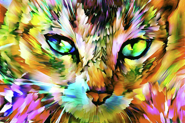 Digital Art - Abstract Tabby Cat Art - Yellow Version by Peggy Collins