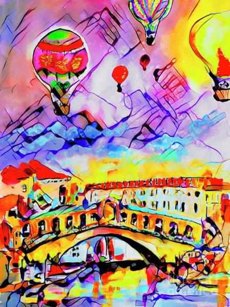 Mixed Media - Abstract Venice Rialto Bridge Balloons by Ginette Callaway