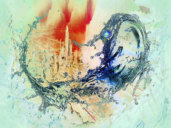 Digital Art - Abstract Water Splash by Robert G Kernodle
