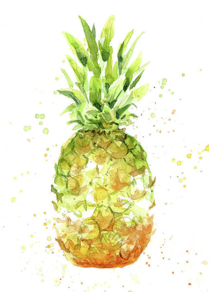 Wall Art - Painting - Abstract Watercolor Pineapple by Olga Shvartsur