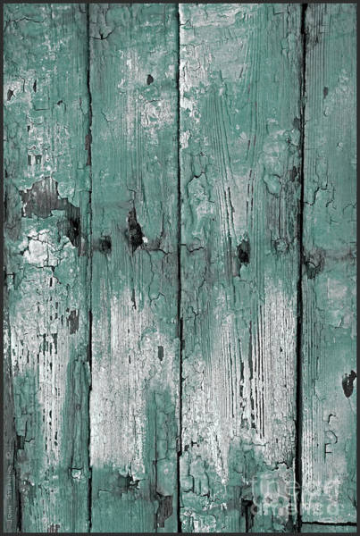 Wall Art - Photograph - Abstract Weathered Teal Boat Paint by John Stephens