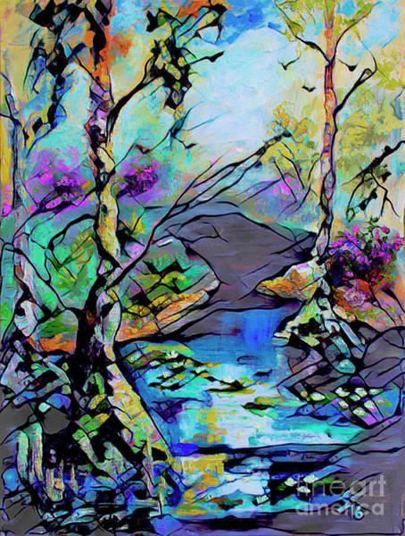 Mixed Media - Abstract Wetland Trees And River by Ginette Callaway