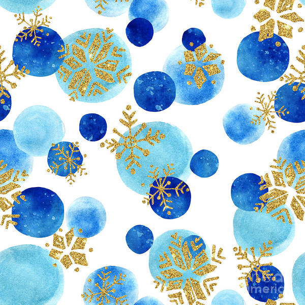 Flakes Wall Art - Digital Art - Abstract Winter Pattern With Glittering by Tanya Syrytsyna