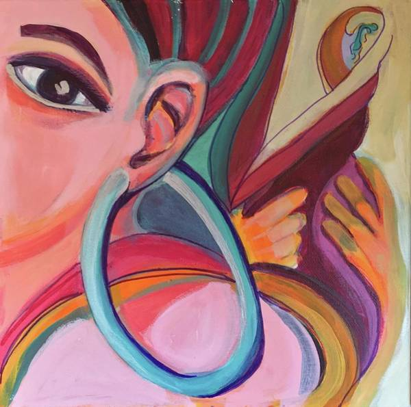 Painting - Abstract Woman With Earring by Cherylene Henderson