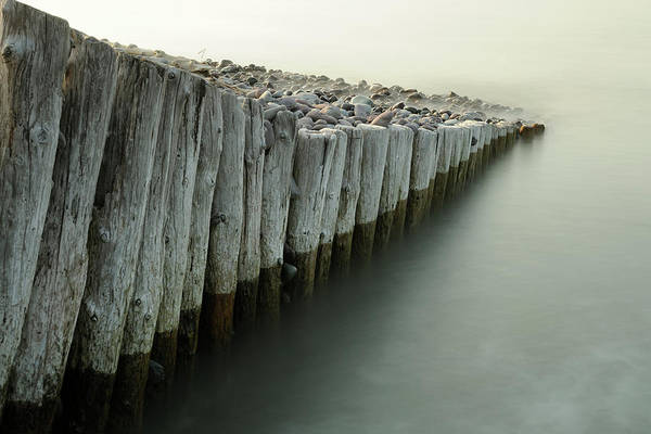 Waters Edge Photograph - Abstract Wooden Groynes, Bossington by Stephen Spraggon