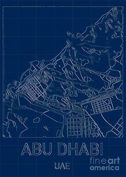 Digital Art - Abu Dhabi Blueprint City Map by Helge