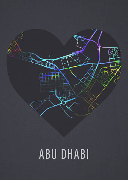 Wall Art - Mixed Media - Abu Dhabi City Street Map Heart Love Dark Mode by Design Turnpike