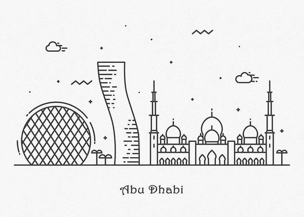 Wall Art - Drawing - Abu Dhabi Cityscape Travel Poster by Inspirowl Design