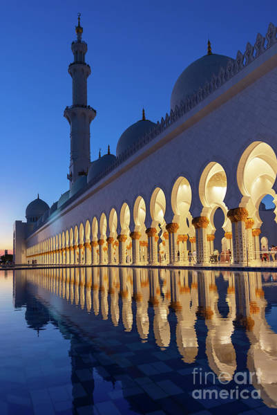 Mosque Photograph - Abu Dhabi Grand Mosque At Night - Vertical by Delphimages Photo Creations
