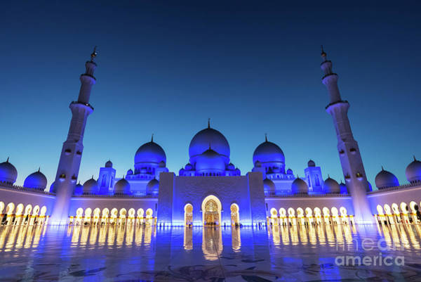 Mosque Photograph - Abu Dhabi Grand Mosque Courtyard by Delphimages Photo Creations