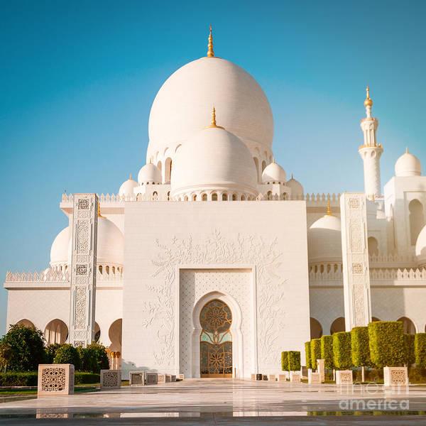 Islam Wall Art - Photograph - Abu Dhabi Sheikh Zayed White Mosque. Uae by Tatyana Vyc